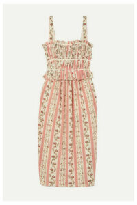 Brock Collection - Grosgrain-trimmed Floral-print Silk-georgette Midi Dress - Pastel pink