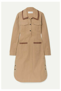 Wales Bonner - Leather-trimmed Cotton-twill Midi Dress - Camel