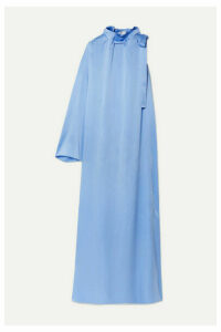 Rosetta Getty - Tie-neck One-sleeve Satin Maxi Dress - Blue