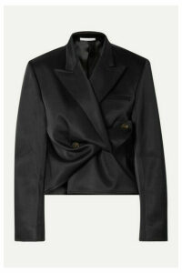 Peter Do - Cropped Gathered Satin Blazer - Black