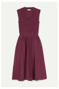 CASASOLA - Ribbed Pleated Stretch-knit Midi Dress - Burgundy