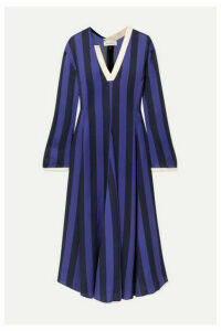 Wales Bonner - Striped Crepe Midi Dress - Purple
