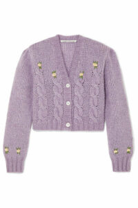 Alessandra Rich - Cropped Embroidered Cable-knit Alpaca-blend Cardigan - Lilac