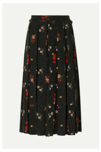 Simone Rocha - Pleated Floral-print Silk-crepe Midi Skirt - Black
