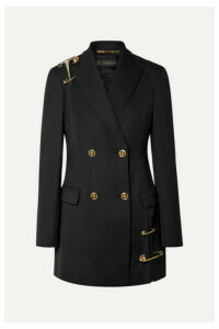 Versace - Double-breasted Deconstructed Embellished Tulle-trimmed Wool Blazer - Black