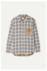 Burberry - Paneled Checked Lyocell And Cotton-poplin Shirt - Ecru