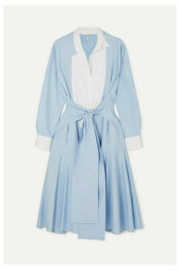 Loewe - Tie-front Paneled Cotton-poplin Midi Dress - Blue