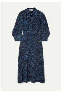 Cefinn - Floral-print Silk Crepe De Chine Midi Dress - Cobalt blue
