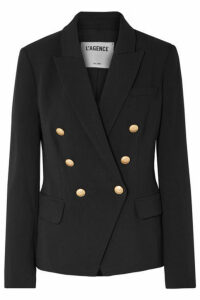 L'Agence - Kenzie Double-breasted Crepe Blazer - Black