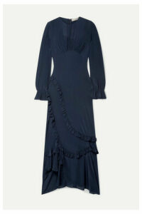 Preen Line - Gabriella Asymmetric Ruffled Crepe De Chine Maxi Dress - Midnight blue