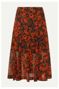 McQ Alexander McQueen - Pleated Floral-print Silk-chiffon Midi Skirt - Orange