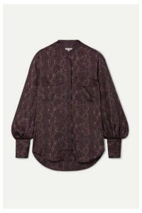 Equipment - Helaine Snake-print Satin Blouse - Merlot