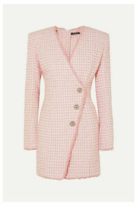 Balmain - Wrap-effect Button-embellished Tweed Mini Dress - Pink