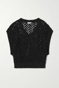 Balmain - Button-embellished Fringed Metallic Tweed Mini Dress - Blue
