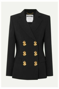 Moschino - Double-breasted Embellished Crepe Blazer - Black