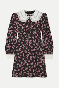 Miu Miu - Lace And Satin-trimmed Floral-print Silk Crepe De Chine Mini Dress - Black