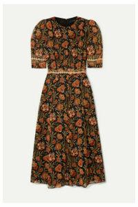 Derek Lam - Crochet-trimmed Floral-print Georgette Midi Dress - Black