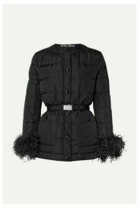 Miu Miu - Feather-trimmed Quilted Shell Down Jacket - Black