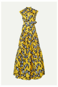 Carolina Herrera - Belted Tiered Floral-print Silk-organza Gown - Yellow