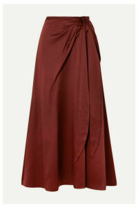 Peter Pilotto - Ruched Hammered-satin Midi Skirt - Burgundy