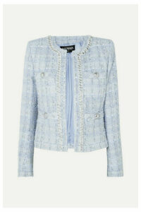 Balmain - Chain And Button-embellished Metallic Tweed Blazer - Blue