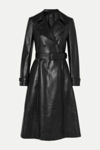 Prada - Double-breasted Leather Trench Coat - Black