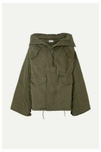 Balenciaga - Swing Oversized Hooded Cotton-twill Jacket - Army green