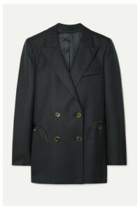 Blazé Milano - Everyday Double-breasted Herringbone Wool Blazer - Midnight blue