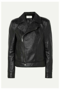 SAINT LAURENT - Cropped Textured-leather Biker Jacket - Black
