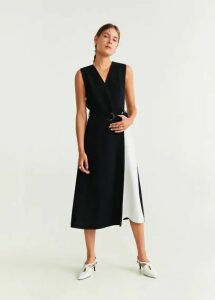 Bicolor belt dress