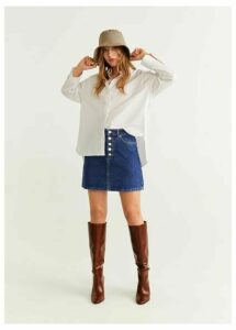 Button denim miniskirt