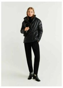 Leather padded coat