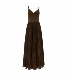 Pleated Lurex Glitter Gown