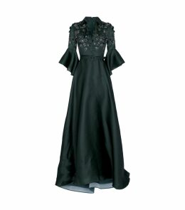 Embellished Collared Gown