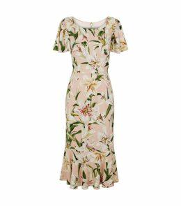 Ruffle Midi Print Dress