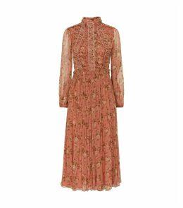Silk Rose Print Maxi Dress
