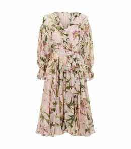 Silk Lily Print Smock Dress