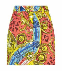 Roman Scarf Print Denim Skirt