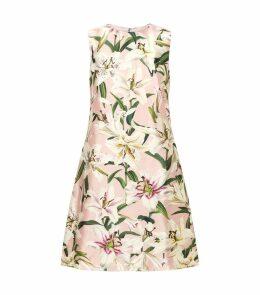 Silk Lily Print A-Line Dress