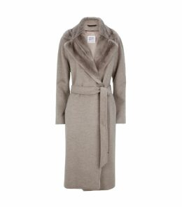 Wool Mink Collar Belted Coat