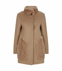 Mink Trim Wool Coat