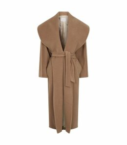 Camel Oversized Collar Belted Coat