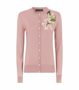 Silk Flower-Embellished Cardigan