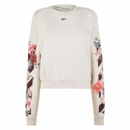 Off White Floral Crew Sweatshirt