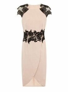 Womens *Little Mistress Nude And Black Lace Midi Dress- White, White