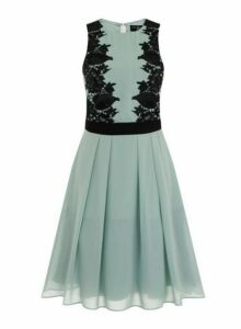 Womens *Little Mistress Sage And Black Lace Prom Dress- Green, Green