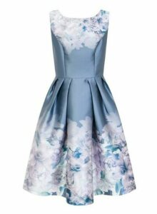 Womens *Chi Chi London Curve Blue Floral Print Skater Dress- Blue, Blue