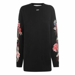 Off White Floral Crew Dress