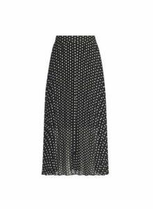 Womens Black Polka Dot Print Button Midi Skirt, Black