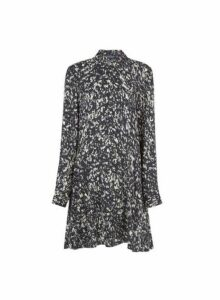 Womens Black Abstract Animal Print Shirt Dress, Black